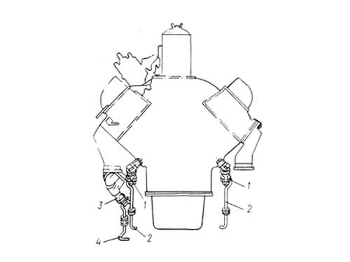 Схема дистанционного управления сливными кранами